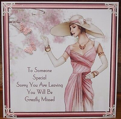Handmade Personalised Large Art Deco Sorry Your Leaving Card A Lady In Pink