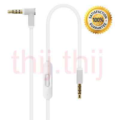 V2 White Control Talk Cable for Apple Beats Headphones by Dr Dre With Remote Mic