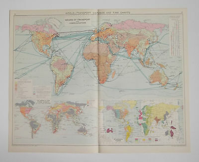 The World Means Of Transport & Communications Distance & Chart 1928 Map