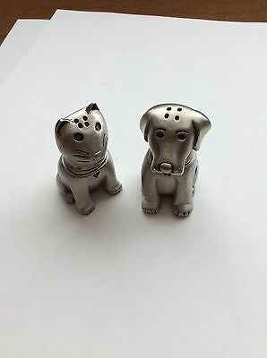 """Cat And Dog Pewter  Salt And Pepper Shakers,  """"So Cute"""""""