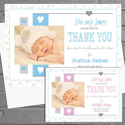 New Baby Thank you Cards Announcement Personalised Girls Boys Hearts x12 H1758