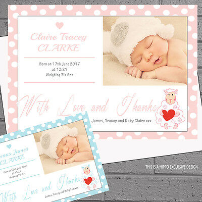 New Baby Thank you Cards Announcement Personalised Girls Boys Spots x12 H1759