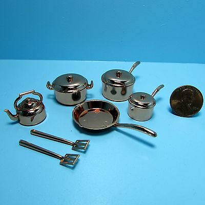 Dollhouse Miniature Kitchen Cookware Set in Copper Pots, Pans, Tea Kettle & More