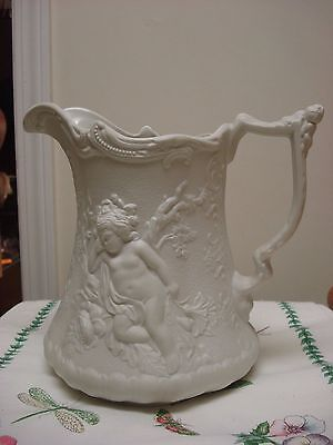 "Perfect Vintage Portmeirion PARIAN England Large 8"" EWER Water Jug CHERUBIM"