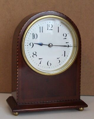 A Victorian Inlaid Mahogany Cased 8 Day Mantle Clock Desk Clock