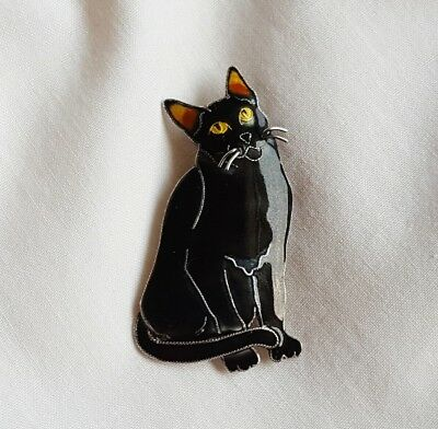 Designer Signed Zarah Sterling Silver Enamel Black Cat Pin Brooch