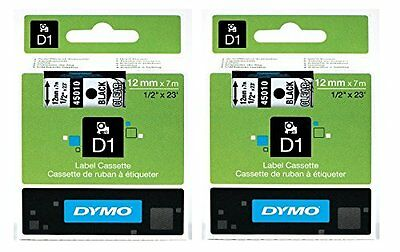 DYMO 45010 Standard D1 Labeling Tape Black Print on Clear 1/2'' W x 23' L 2 PACK
