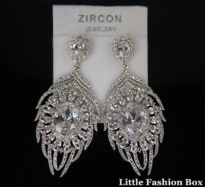 Superior Cut Cubic Zirconia Crystal Cluster Feather Wedding Prom Earring UK New