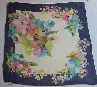 Vintage Silk Navy Multi Floral Ladies Scarf 30 x 32 Hand Screen Print Rolled USA