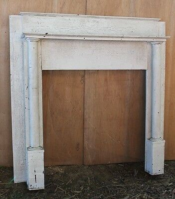 Beautiful Antique Fireplace Mantle White Crackled Paint Round Columns