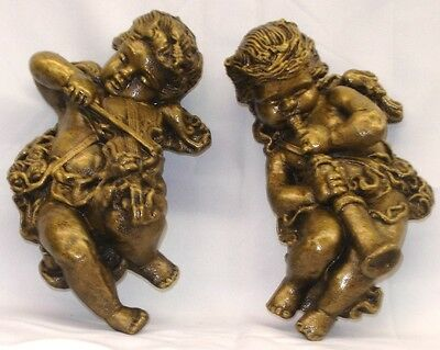 Musical Angels Cherubs Cupid Eros With Wings Pair Wall Plaques Home Decor PAIR