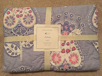 Pottery Barn Kids Baby Toddler Chelsea Medallion Crib Quilt NWT Pink Blue
