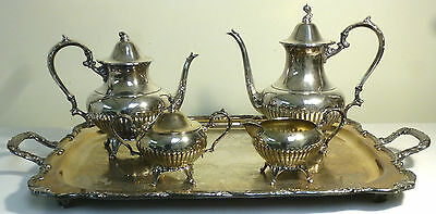 Silverplate Wm A Rogers Coffee & Tea Set 5 Pieces Includ Tray