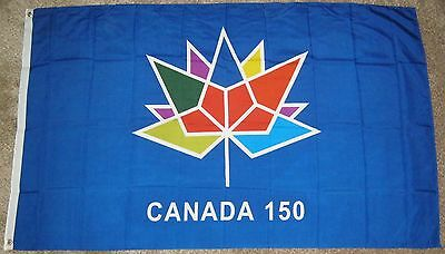 New 3' by 5' Canada 150th Anniv. Flag. Blue Background. Free Shipping in Canada!
