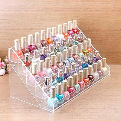 Nail Polish Display 5Rows Counter Stand Organizer Holder Rack Acrylic 72 Bottles