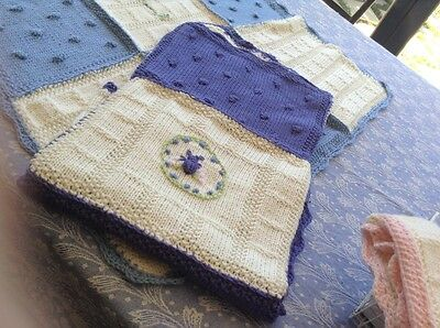 Baby blankets, Australian machine washable wool, hand knitted .