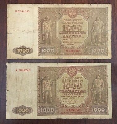 P7 Poland 1000 Zlotych 1946 Antique P-122 Lot 2 Banknotes Paper Money Currency