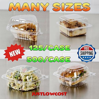Clear Hinged Lid Plastic Container Case Pies Food Sandwiches Pastries Take Out