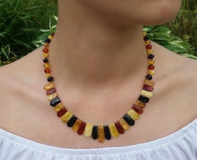 "18,7"" Beautiful Genuine Baltic Amber Cleopatra Choker Necklace for Woman Mix"