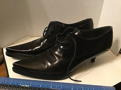 5575d1ab08a4 MIU MIU VERO Cuoio Made In Italy Kitten Heel Black Patent Shoes 38.5 ...
