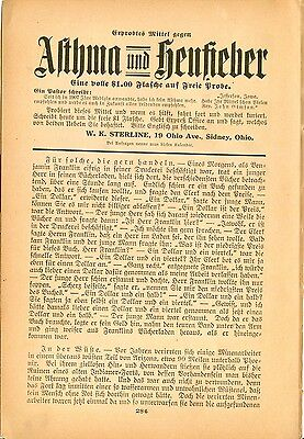 1919 AK Ad in German W K STERLINE Asthma Cure Sidney Ohio