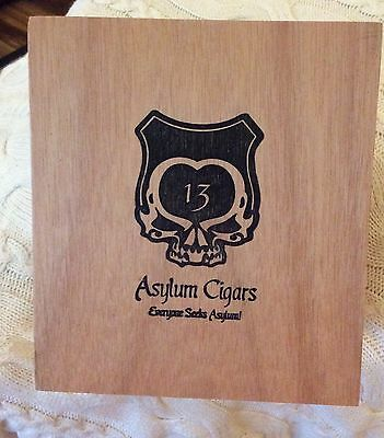 "Asylum 13 Empty Wood Cigar Box With Removable Top 8.5"" x 5 3/4"" x 4.5"""