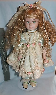 Porcelain doll cloth body Seymour Mann Connoisseur blonde ringlets stand 16 inch