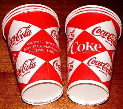 (6) Vintage 1960's Coke Coca-Cola SODA Wax PAPER Dixie CUPS LOT Old Store Stock