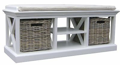 Hamptons Style White Bench Seat W/Cushion and 2 Rattan Baskets - Hand Finished
