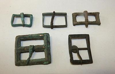 Lot Of 5 Roman Bronze And Iron Rectangular Buckles