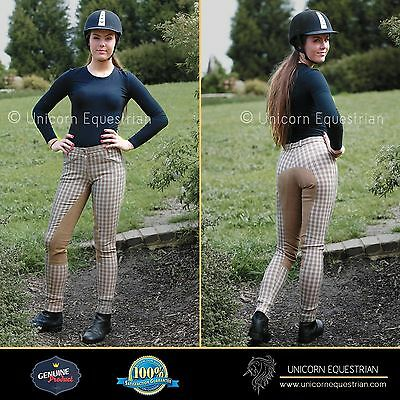 Stocktake Sale on Ladies Jodhpur Breeches Beige Check Full Seat Horse Riding