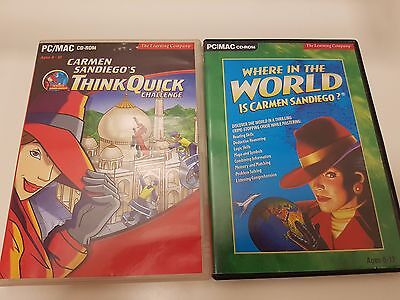 Where in the world is Carmen Sandiego and Think Quick Challenge PC/MAC CD-Rom