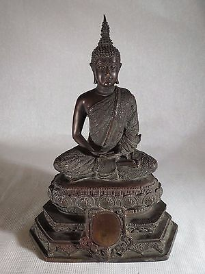 RARE ANTIQUE 19TH 20Th THAI CHINESE BRONZE SEATED BUDDHA STATUE