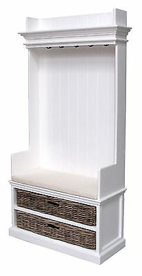 Hamptons Style White Timber Coat Hanger Unit With 2 Rattan Baskets and Cushion