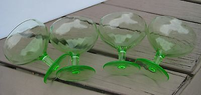 Vaseline Glass Green Glass Set Of 4 Desert Cups Fruit Cups