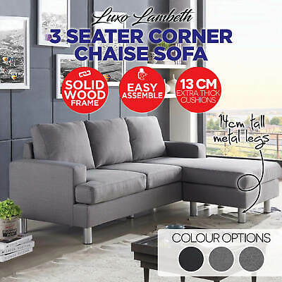 3 Three Seater Corner Futon Fabric Sofa Chaise Couch Lounges Suite Furniture Set