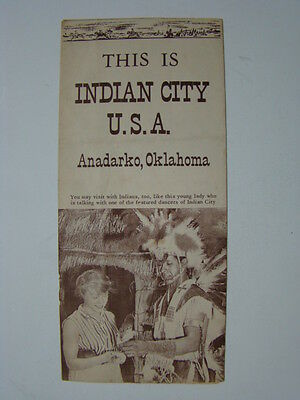 This is Indian City Anadarko Oklahoma Brochure Wichitas Apache Indians 1950's