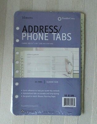 Franklin Covey ADDRESS TABS Classic Size 24 TABS Botanical BLOOMS Design SEALED