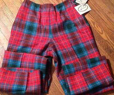 "NWT VTG PENDLETON Wool TARTAN Plaid Golf pants Sz 12(25"" waist Size 2) Casual"
