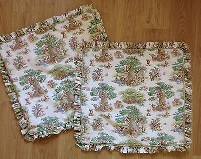 TWO LARGE Ruffle Pillow Shams~Teddy Bears Picnic~ 100% Cotton Canvas