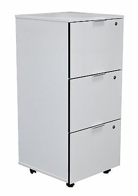 Stationary Cupboard Filing File Storage 3 DRW Cabinet With Locks - White