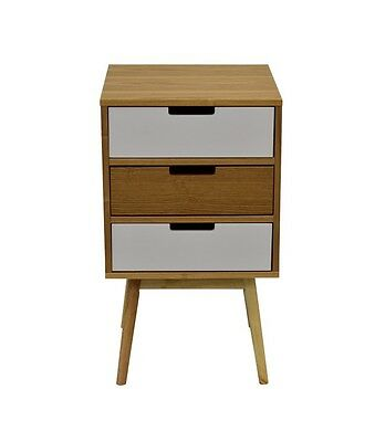 Modern Living Room Lamp, bedside table, Side End Table With 3 Drawers White Ash