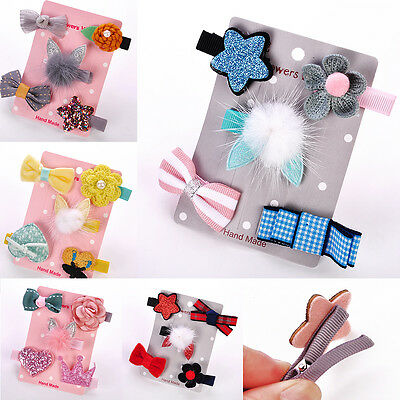 Star Hairpin For Baby Gift Girl Kid Hair Clip Bow Flower Mini Barrettes 5Pcs/set