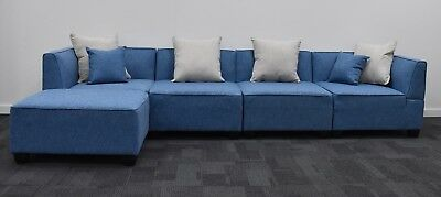 Corner Chaise, Lounge Suite, Sofa, Couch, With 6 Pillows. Fabric. 5 colours