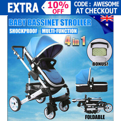 4 in 1 Baby Kids Toddler Pram Stroller With Bassinet Foldable Buggy Jogger Blue