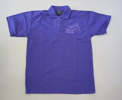 Personalised Embroidered Kid's Shirt in PURPLE with your choice of Horse Design
