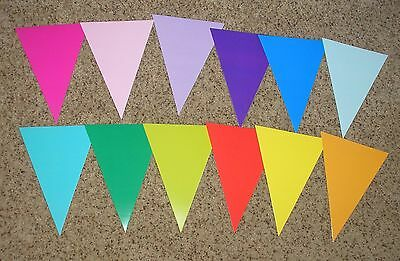 Teacher Resource: 12 Large Color Pennant Bulletin Board Accents / Cut-outs - 7""