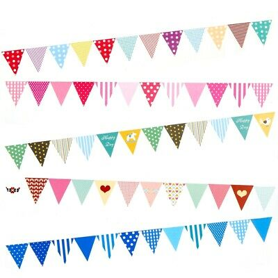 Flags Colorful Triangle Pennant Paper Banner String Birthday Hanging Party Decor