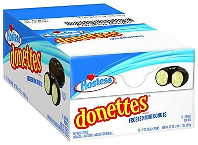 911241 BOX OF 10 x 105g PACKETS OF HOSTESS DONETTES FROSTED MINI DONUTS! USA