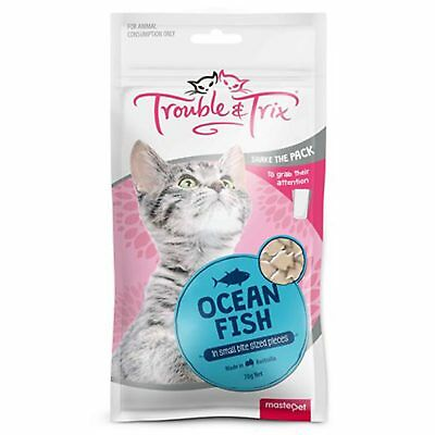 Trouble & Trix Ocean Fish Cat Treat 70g Reward Your Cat Kitten Calcium Vitamin